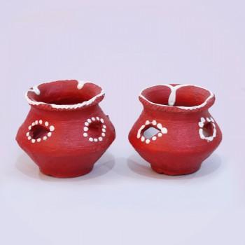 2 Red Matki Diya
