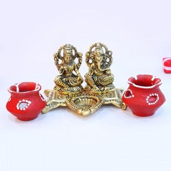 Matki Diya with Laxmi Ganesha Set