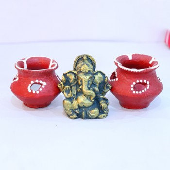 Metal Ganesha with Matka Diya