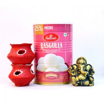 Rasgulla Tin Pack with Metal Ganesha