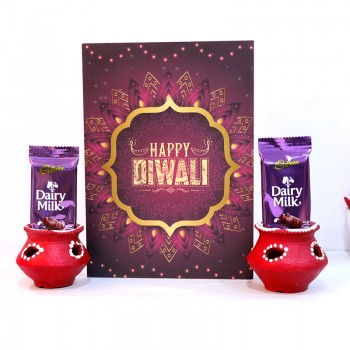 Matki Diya with Greeting Card and Chocolates