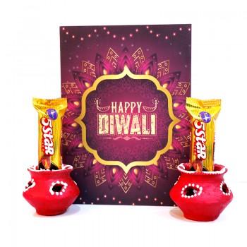 Diya with Greeting Card and Chocolates