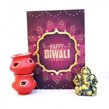 Diya, Greeting Card and Metal Ganesha