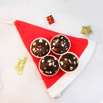 Chocolate Muffins with Santa Cap