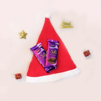 Christmas Cap and Dairy Milk Silk Chocolate