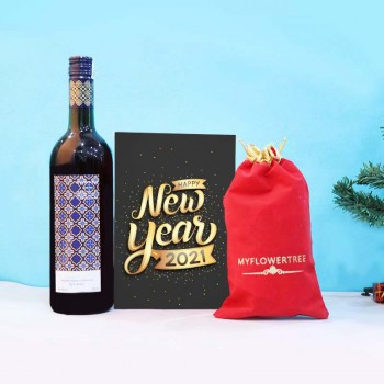 New Year Combo of Greeting Card, Wine and Dryfruit
