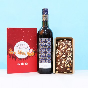 Christmas Combo of Wine, Cake and Greeting Card