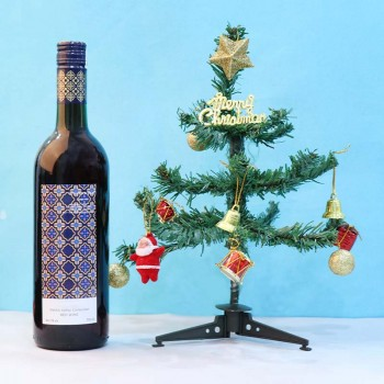 Christmas Tree with Bottle of Red Wine