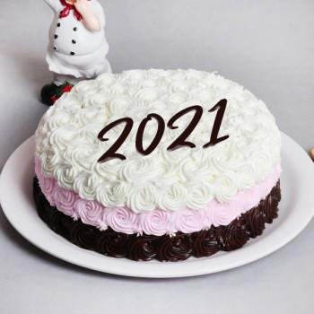2021 New Year Rose Swirl Cake