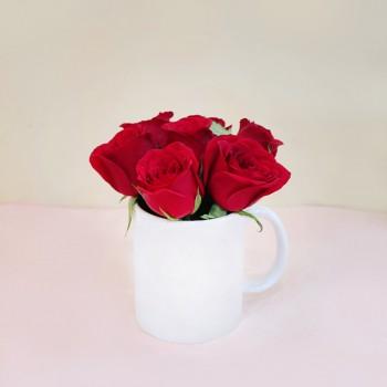 White Mug with Roses