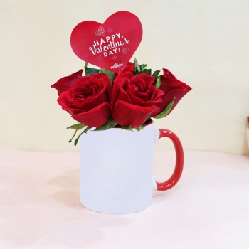 Valentines Day Roses with Coffee Mug