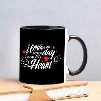 Love You theme Black Handle Mug