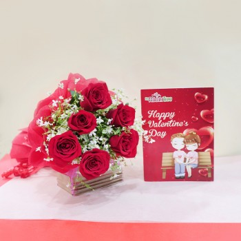 Valentines Day Roses with Greeting Card