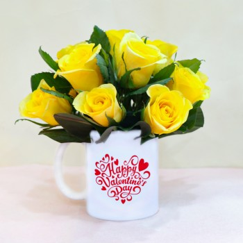 Yellow Roses with Coffee Mug