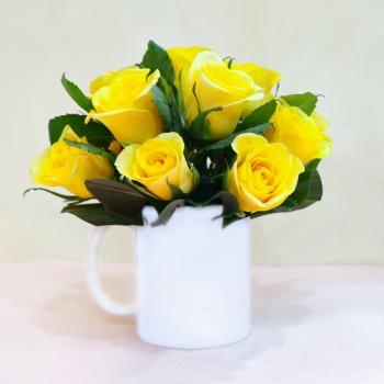 Yellow Roses in White Mug