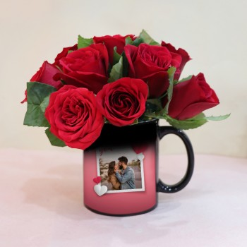 Magic Mug Red Rose Arrangement