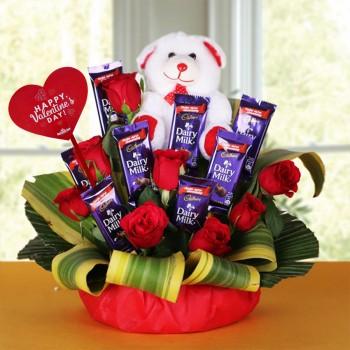 Teddy Chocolate Bouquet Flower Arrangement