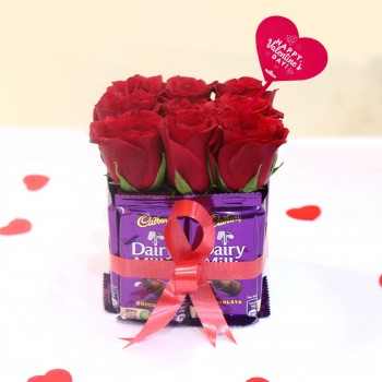 Valentines DAy Flowers with Chocolate