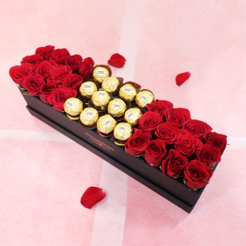 Luxury Roses Chocolate Arrangement