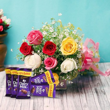 8 Mixed Roses Bouquet with Dairy Milk Chocolate