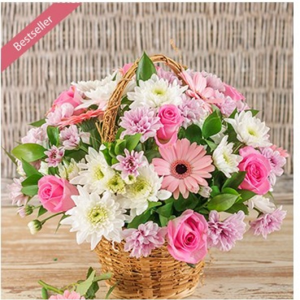 Mix Pink Flower Basket