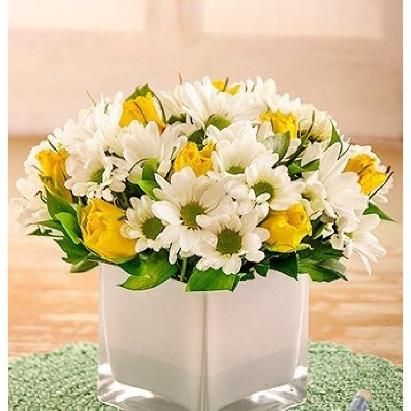 Yellow Roses and Sprays in White Vase