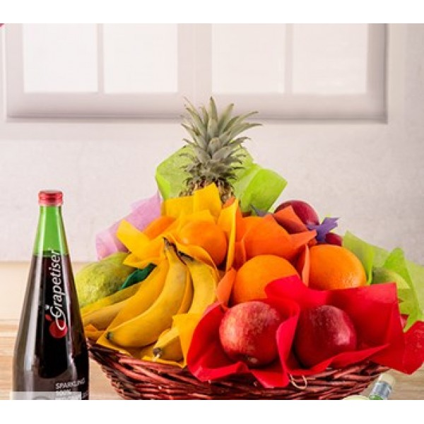 Basket of Fresh Fruit and Juice