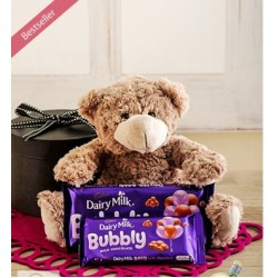 Gift Box with Teddy and Cadbury Chocolates