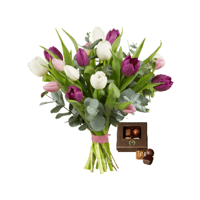Tulip Bouquet With Chocolate