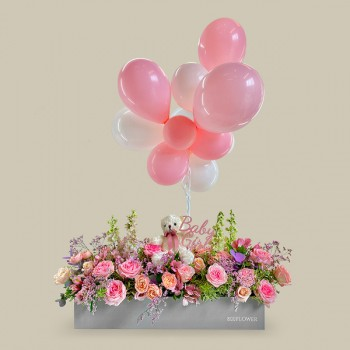 Graceful Purity Baby Girl Flower Box Package