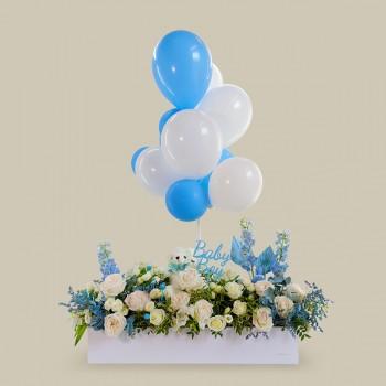 Graceful Purity Baby Boy Flower Box Package