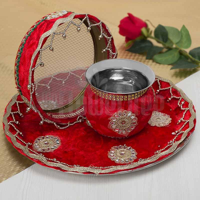 Red Karwa Chauth Thali