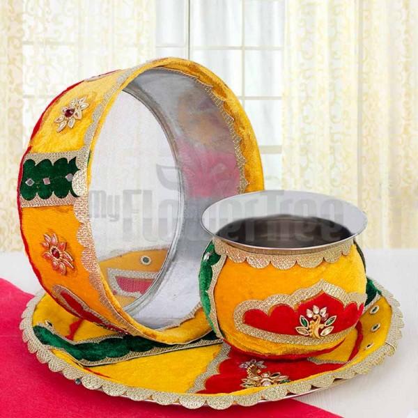 Yellow Karwa Chauth Thali
