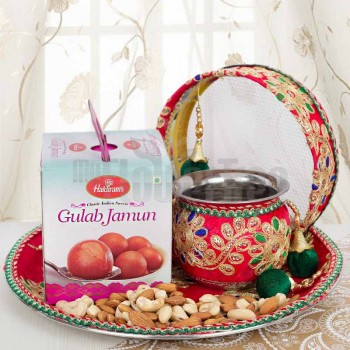 Karwa Chauth Pooja Thali Set with Gulab Jamun and Dryfruit