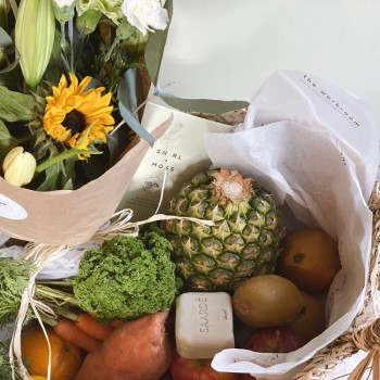Market Produce and Blooms Gift Basket