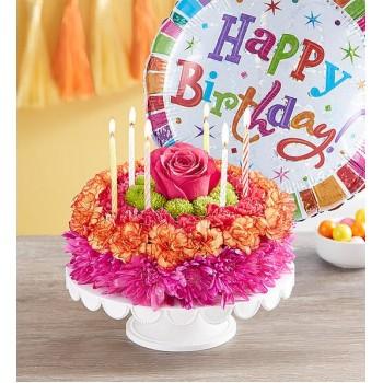 Birthday Wishes Flower Cake Vibrant