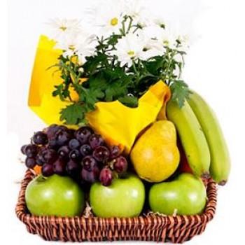 Fruits Flowers Gift Basket
