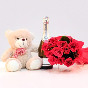 12 Red roses with Teddy bear(12 inch) and Bottle of Champagne