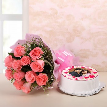 Pink Roses with Photo Pineapple Cake