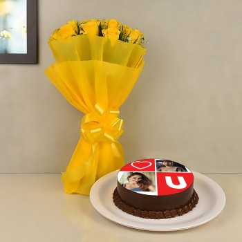 Yellow Roses and Photo Cake Combo