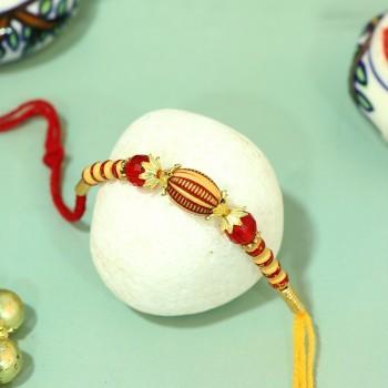 Traditional Red Pearl Rakhi