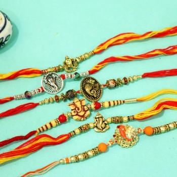 Set of 6 Ganesha Rakhi