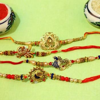 Set of 4 Peacock Designer Rakhi