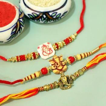 Auspicious Ganesha Trio Rakhis