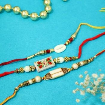 Set of 3 Pearl Designer Rakhi