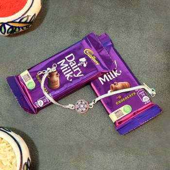 Silver Rakhi with Chocolate