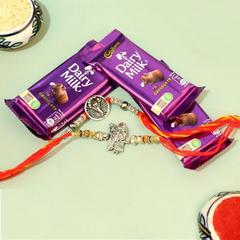 Devotional Silver Rakhis with Chocolate Combo