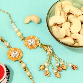 Elegant Diamond Rakhi Combos for Bhaiya and Bhabi