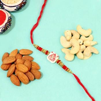 Traditional Ganesha Rakhi with Healthy Nuts Combo