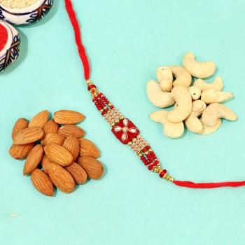 Red Kundan Rakhi with Crackling Dry Nuts